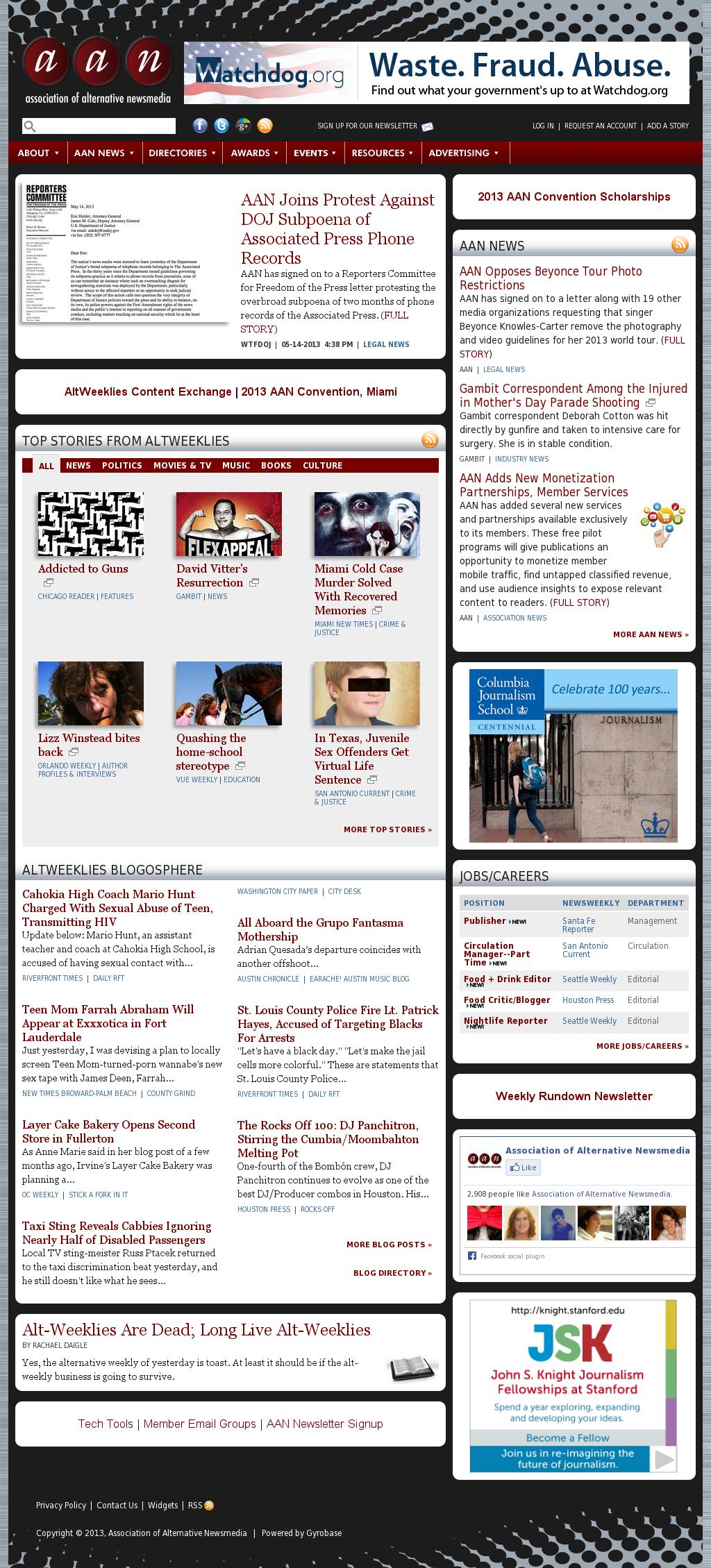 Association of Alternative Newsmedia at Wednesday May 15, 2013, 3 a.m. UTC