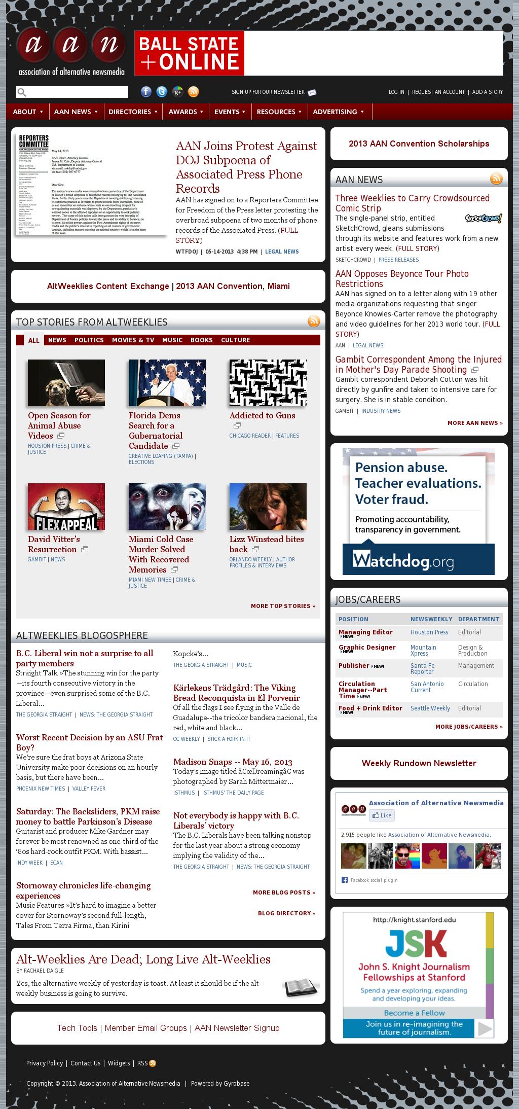 Association of Alternative Newsmedia at Thursday May 16, 2013, 7:01 p.m. UTC