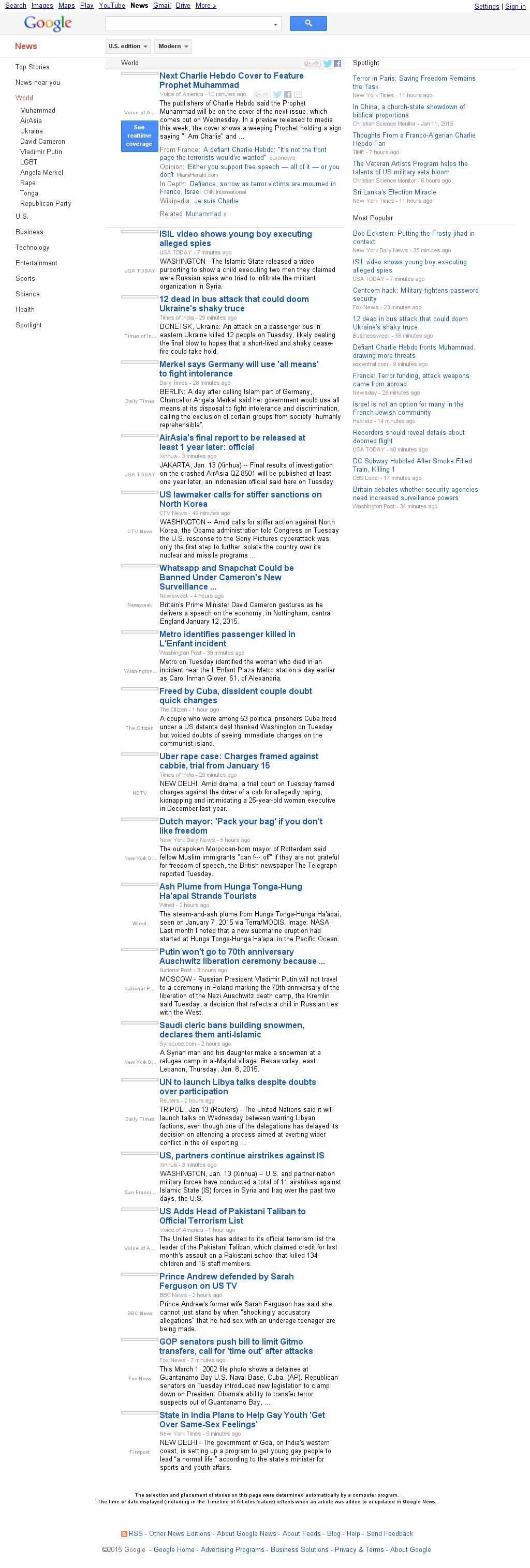 Google News: World at Tuesday Jan. 13, 2015, 11:11 p.m. UTC