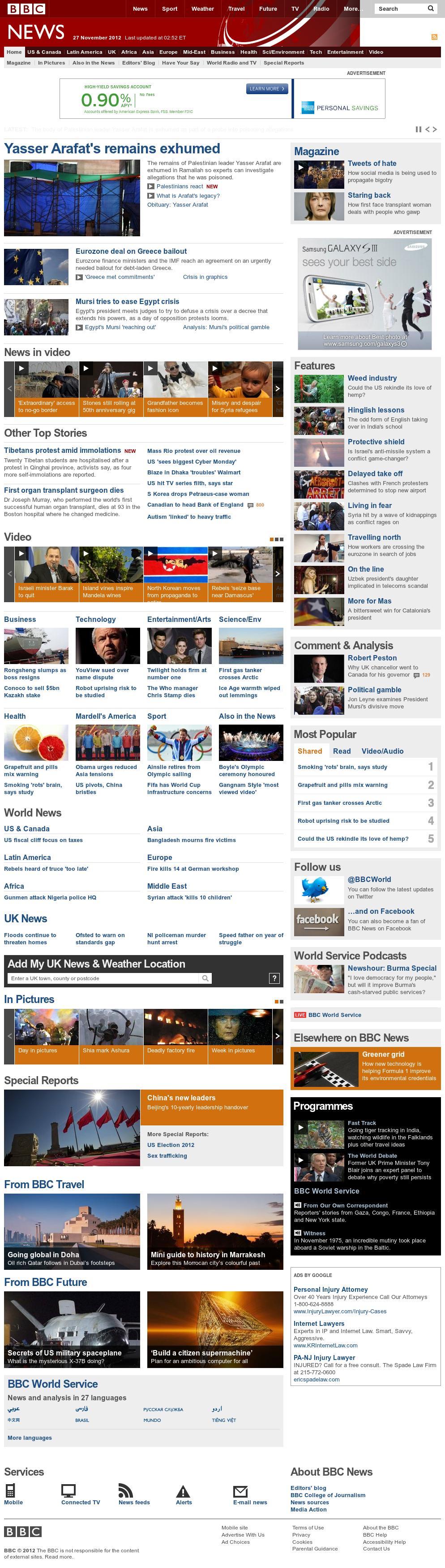 BBC at Tuesday Nov. 27, 2012, 8:01 a.m. UTC