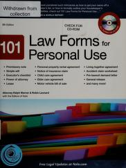 Cover of: 101 law forms for personal use   Ralph E. Warner