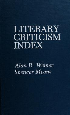 Cover of: Literary criticism index | Alan R. Weiner